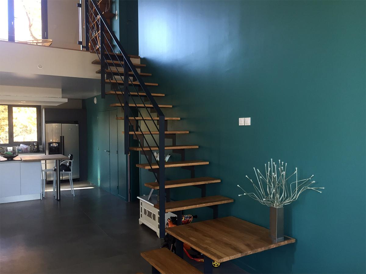escalier un quart de tour, bois et métal, Sublimétal, métallier et ferronnier Toulouse