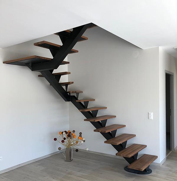 escalier un quart haut métal bois Sublimétal