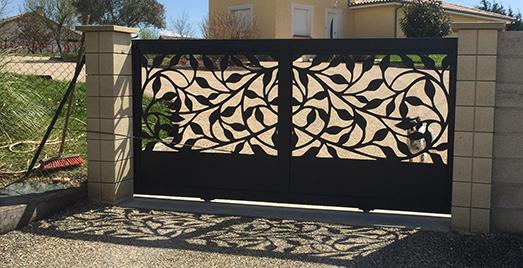 Portail motif floral, ajouré, métal, noir, Sublimétal