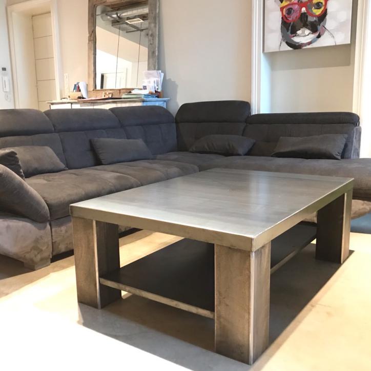 table basse métal brossé, création Sublimétal