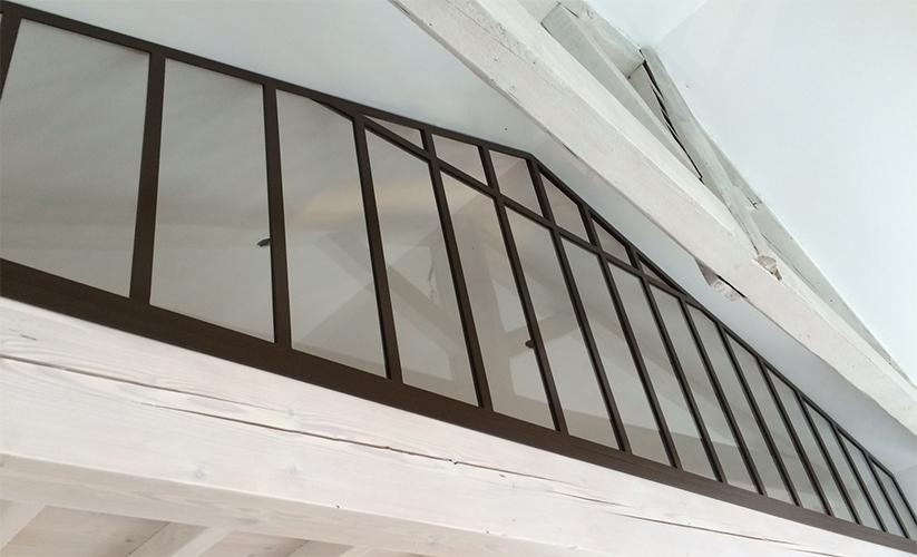 verrière sur mezzanine, métal, noir, Sublimétal, ferronnier et métallier Toulouse