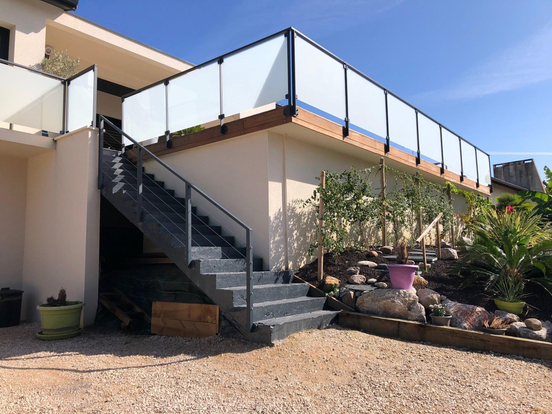 garde corps métal et verre sur terrasse, Sublimétal